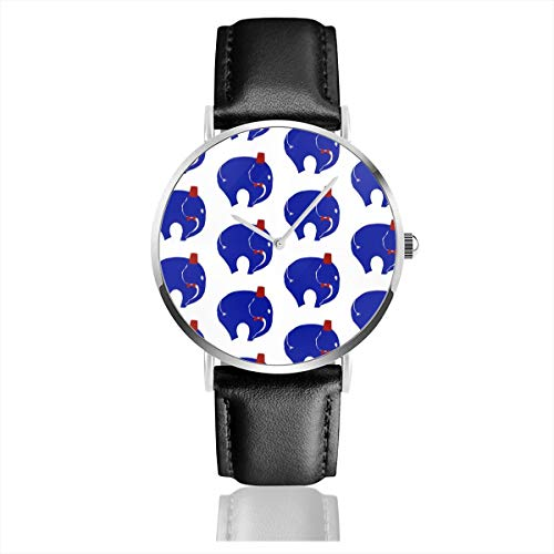 Business Analog Watches, Bowtie with Fez On Blue Elephant. Classic Stainless Steel Quartz Waterproof Wrist Watch with Leather Strap
