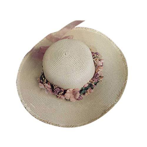 Dergtgh Wide Brim Straw Sonnenhut Frauen-Mädchen-Blumenkranz Frühlings-Sommer-Cap-Strand-Hut Kopfschmuck Kopfbedeckung