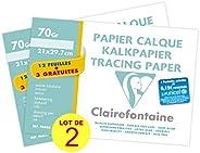 Clairefontaine 196853AMZC - Un lot de 2 pochettes de Calque supérieur 15 feuilles (12 + 3 gratuites) 21x29,7 c