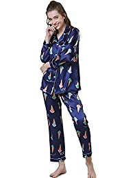 0a586e3b68 VLUNT Pijamas Mujer de Seda de Imitacion