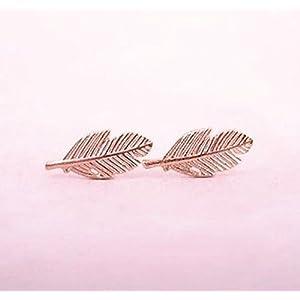 Selia Feder Ohrring Blatt Ohrstecker rosegold handgemacht Modeschmuck Schmuck, minimalistisch, filigran