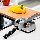 Dmqpp Couteau électrique Affûtage, Couteau de Cuisine Sharpener Outil Aide à réparer, restaurer, Blades polonais, Mécanisme serrantes, Durable Céramique Pins Argent Angled (Color : Silver)