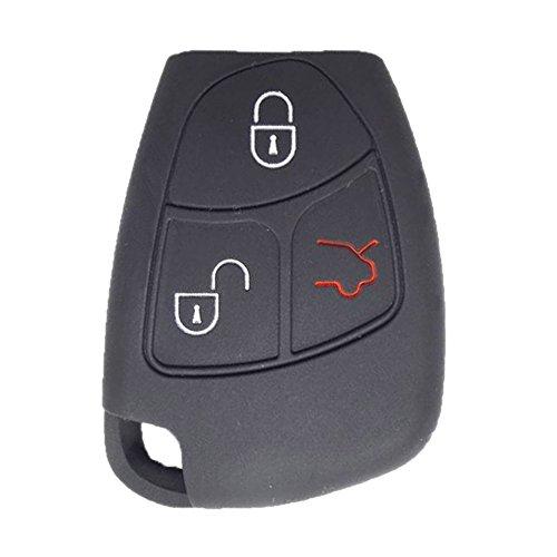 RotSale® 1x Schwarz Mercedes Benz Schlüsselhülle 2 - 3 Tasten Autoschlüssel Silikon Schutzhülle Tasche Gehäuse Fernbedingung