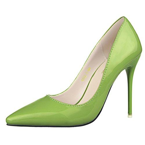 HooH Femmes Simple Pointu De Travail Escarpins Vert