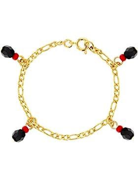 In Season Jewelry Baby Mädchen - Armband Simulierter Azabache Charme Böser Blick 14k Vergoldet 12cm