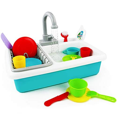 Küchenspielzeug Geschirrspülszene Kinderküche Zubehoer Spielküche Zubehör Kinderspielzeug Rollenspiel 3 4 5 Jahren, 19 Stück -