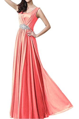 Milano Bride Rot Chiffon Damen Lang Brautjungfernkleider Partykleider Promkleider A-linie Rock Festlichkleider Wassermelon