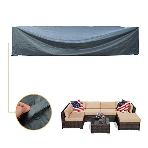 Coismo Abdeckung für 6-teilige Weidenmöbel, extra groß und langlebig, 126 x 183 x 71 m, wasserfest Large grün - Extra, Extra Large-grün