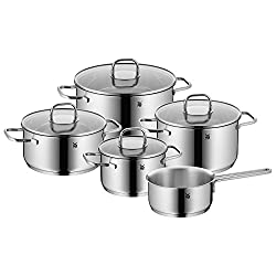 WMF Inspiration pot set 5-parts, Cromargan polished stainless steel, pots with glass lid, induction pots, pot induction, uncoated
