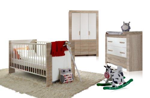 Wimex 384381 Babyzimmer Set Emily bestehend aus Kleiderschrank 3-türig 135 cm, Babybett 70 x 140 cm, Kommode und Wickelaufsatz, Eiche Sägerau Nachbildung, Absetzung, alpinweiß - Emily Baby Möbel