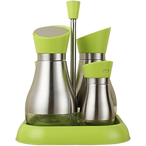 Cucina bottiglia di vetro 4 pezzo a tenuta ermetica di salsa di soia aceto bottiglia di olio confezionato caraffe serbatoio aromatizzanti condimento della cartuccia di serbatoio di sale , Kit verde