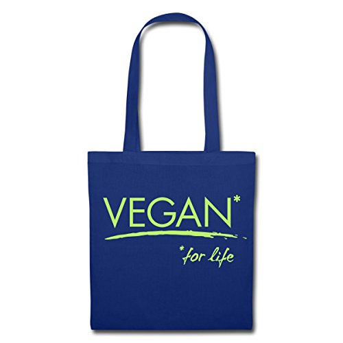 Spreadshirt Vegan For Life Veganer Statement Stoffbeutel Royalblau