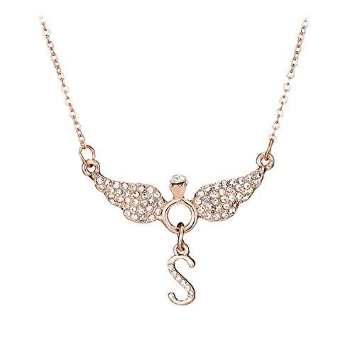 wonCacrostrans Damen Halskette, Buchstaben S Angel Wings Strass Intarsien Anhänger Kette Halskette Damen Daily Jewelry Rose ()