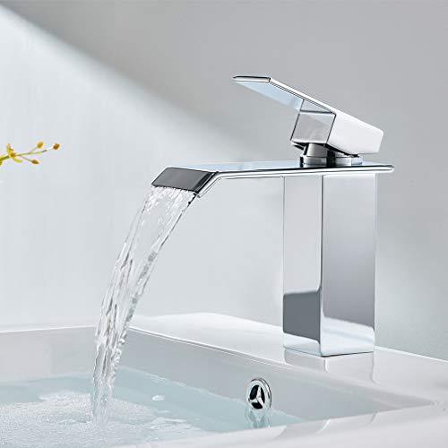 CECIPA Wasserfall Wasserhahn Bad Wasserhahn Waschbecken für Badezimmer, Einhandmischer Waschtischarmaturen Kaltes und Heißes Wasser Vorhanden mit Moderner Stil,