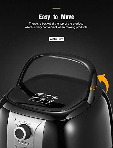 Aicok Friggitrice Ad Aria Calda, 3.5L Low-oil Multifunzione Antiaderente Friggitrice, Temperatura e ora Regolabili, 1400W, Spegnimento automatico, Ricettario, Senza BPA, Grado Alimentare