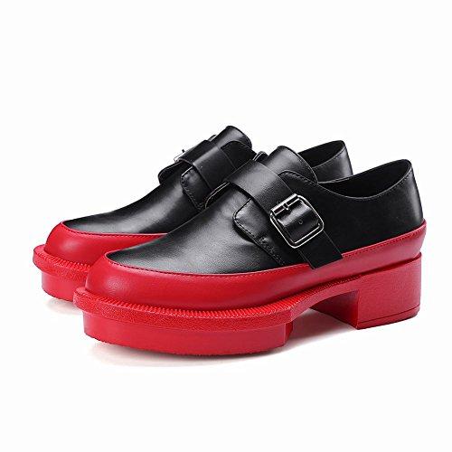 Mee Shoes Damen chunky heels runde mehrfarbig Pumps Rot