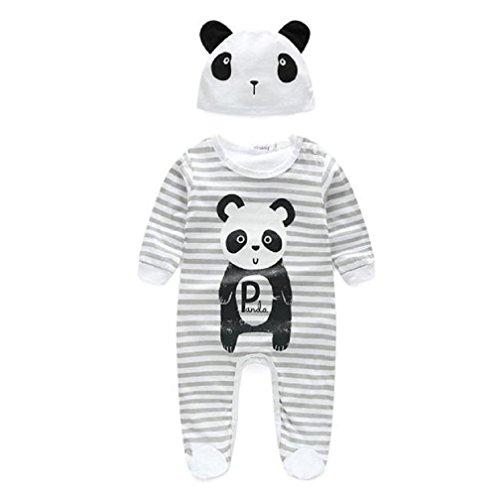 Baby Junge Mädchen Unisex Kleider niedlich Tier Strampelhöschen Pyjama Mit Hut Lange Ärmel draussen Overalls Nachtwäsche (Grau, 6-12M) (Baby-tier-kleidung)