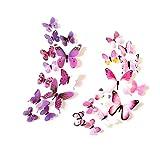 GKONGU Schmetterlinge Wanddekoration, 36 Stück 3D Schmetterlinge Wanddeko Aufkleber Abziehbilder,Wasserdicht Wand Aufkleber-Aufkleber