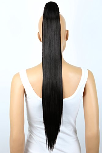 Zopf Pferdeschwanz glatt Haarverlängerung hitzebeständig wie Echthaar 70cm schwarzbraun #3 H158 ()