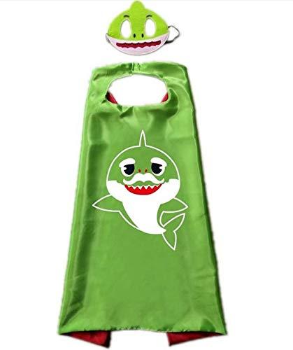 Hapyshop Kinder Baby Hai Cape Cartoon Cute Cape Maske, Kinderumhang Umhang für Maskerade, Geburtstagskleid, Party, Weihnachten, Halloween-Kostüm, Grün Größe: 110 * 70 - Kostüm Capes Für Verkauf
