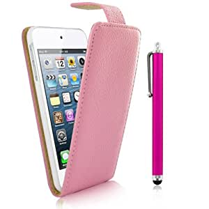Kolay Flip Case Cover Stand/Screen Protector/Stylus Pen for Apple iPod Touch 5th Generation - Pink