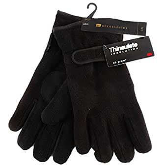Men's Polar Fleece Gloves With Velcro Strap 100% Polyester With Thinsulate Lining Black M/L
