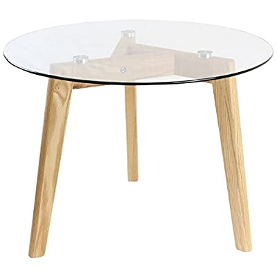 Hartleys Solid Oak Tripod Base Round Glass Coffee Table