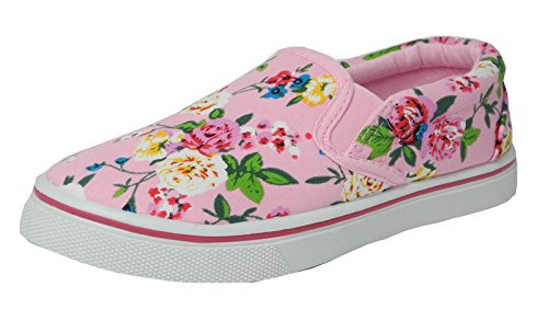 Girls Childs Kids Canvas Boat Yachting Deck Shoes Slip On Pumps Pink Size 11