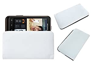 Acm Rich Leather Soft Case For Motorola Defy Xt Xt535 Mobile Handpouch Cover Carry White