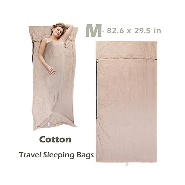Azarxis Sleeping Bag Liner Travel Sheet Sleep Sack Blanket for Adult Cotton Lightweight Ultralight Envelope Compact - Double 2 King/Single 1 Queen 1