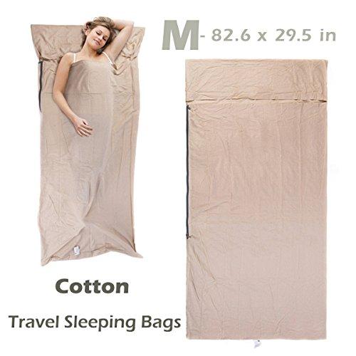 Azarxis sacco lenzuolo a pelo sacchi lenzuola saccolenzuolo letto saccoletto cotone leggero portatile adulti da viaggio campeggio per singolo 1 doppio 2 persone (beige - 2.1 x 0.75 m)