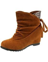 6ea85c395853 SANFAHION Bottines Femme Casual Bottes Boho Chic Chaussures à Lacets Mode Martin  Vintage