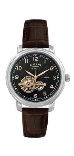 Rotary Herren-Armbanduhr XL Analog Automatik Leder GS90500/19