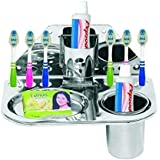 ROYAL ALFA 3 in 1 Toothbrush Holder Stand (Silver)