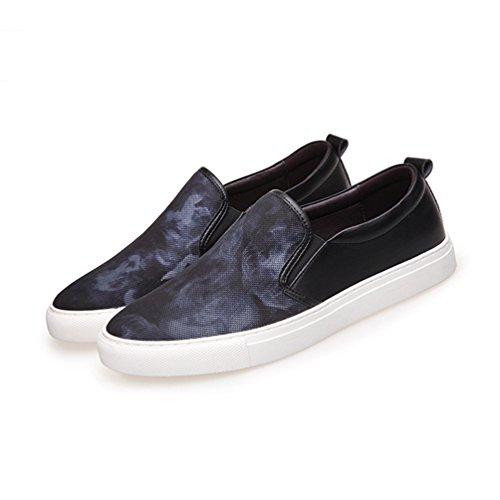Feidaeu Loafers Hommes Mocassins PU Synthétique Coton Tissu Impression Respirent Léger Loisir Confortable Chaussures Noir