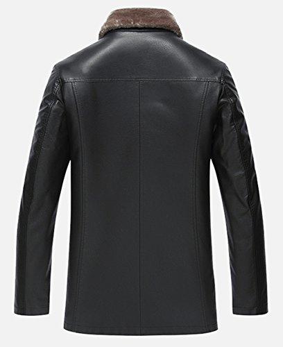 Hommes Fit cuir veste hiver manteau Chaud Agneau La laine Doublure Noir