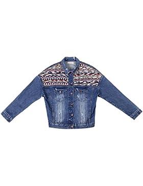 ZKOO Ricamata Manica Lunga Giacca Di Jeans Donna Sciolto Retro Coat Sezione Corta Denim Cappotto