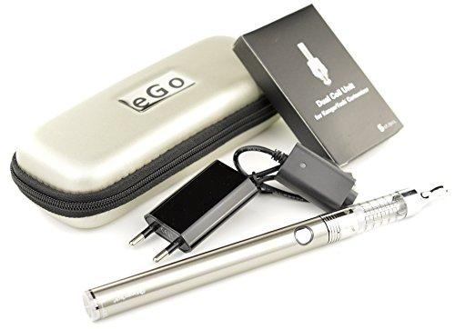 Kangertech eGo - Starterset (M) - e Zigarette - EVOD VV Akku 1.000 mAh & T3D Dual Coil Clearomizer (silber)