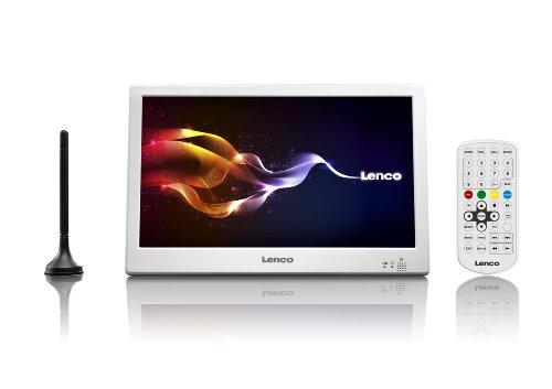 Lenco TFT-1038 Tragbarer 10 Zoll HD LED-TV mit DVB-T2, Antenne, Fernbedienung, 12V Adapter, Netzteil, HDMI, Weiß