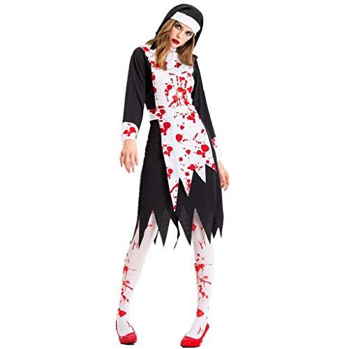 Ghost Kostüm Gaze - TcooLPE Frauen Cosplay Kostüme, New Halloween Schwarz Gaze Hexe Kostüm, Temperament Hexe Ghost Game Anzug Königin Anzug withWomen's Skull Printed Hexe Plus-Size Kleid Halloween Cosplay Party Jumpsuit