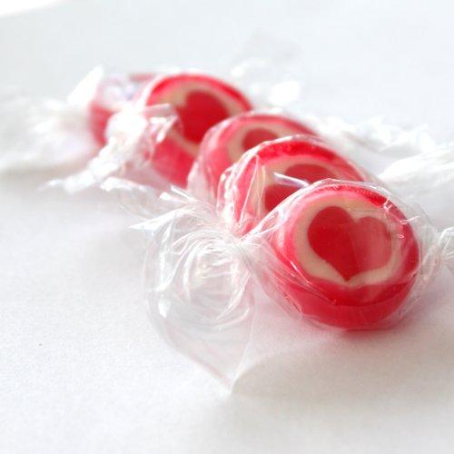 Preisvergleich Produktbild Rocks Bonbons Herz,  rot-weiß,  500gr (ca. 140 Stk.) - Bonbons mit rotem Herz für eine süße Tischdeko zur Hochzeit,  Kommuinion,  Konfirmation oder Taufe