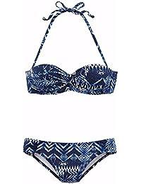 lascana plancha de Bandeau de bikini, marine gemustert, 38C