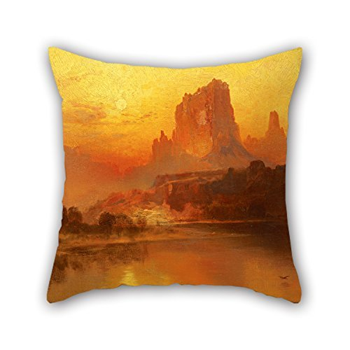 beautifulseason Oil Painting Thomas Moran - The Golden Hour Valentine Day Pillow Cases Best for Indoor Lover Bf Play Room Adults Home Theater 18 X 18 Inches/45 by 45 cm(Twin Sides) - Western Stitch