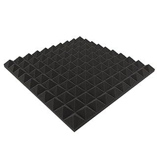 Akustikpur - 1m² - 4 Stk. ca. 48,5 cm x 48,5 cm x 6 cm - Pyramiden (Anthrazit/Schwarz) Akustik Schaumstoff,Akustik Dämmung