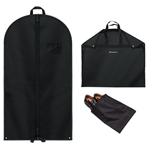 2x Stabiler Kleidersack - hochwertige Anzugtaschen inkl. Schuhbeutel - 100 x 60 cm - Kleiderschutzhülle & Anzughülle aus atmungsaktivem Material - bester Schutz auf Reisen für Anzüge & Kleider