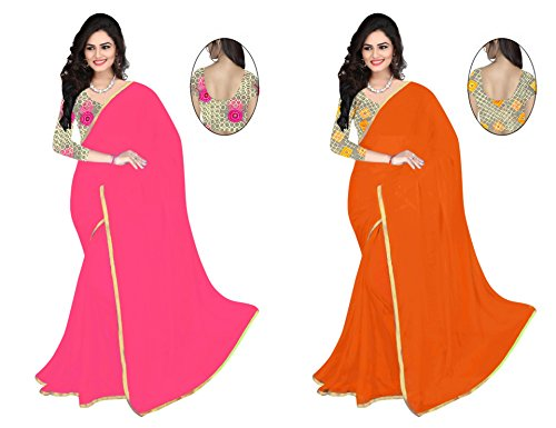 Surat Arts Saree Combo Pack pink and orange Colour Chiffon Sarees with Weaving Border And Net Balouse  available at amazon for Rs.599