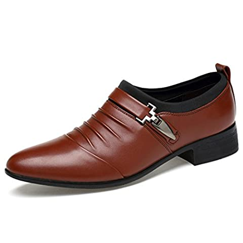 Men's High Quality Classical Loafers Leather Dress Shoes brown / US 10