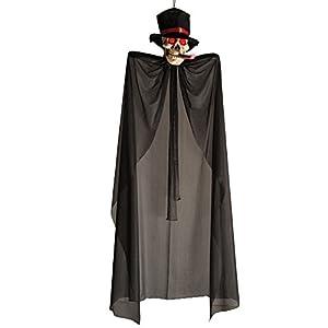 Carnival Toys - Esqueleto para colgar con ojos y puro luminosos y sombrero, 150 cm, color negro (8526)