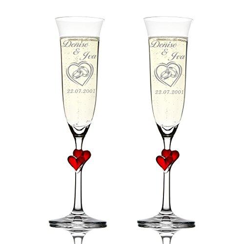 Stölzle Lausitz Amour Ensemble de 2 coupes à champagne avec gravure personnalisée motif - Dans le cœur double anneaux Coeur