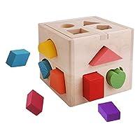 لعبة صندوق مع مكعبات بناء لتعليم الاشكال مصمم بثلاث عشرة فتحة
